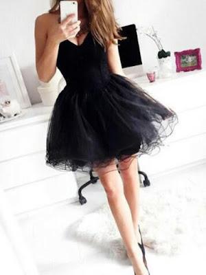Sweetheart Short/Mini Tulle Black Homecoming Dresses Short Prom Dresses #SP8452