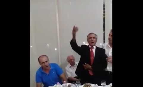 Tepelena's Mayor Tërmet Peçi singing for dictator Enver Hoxha