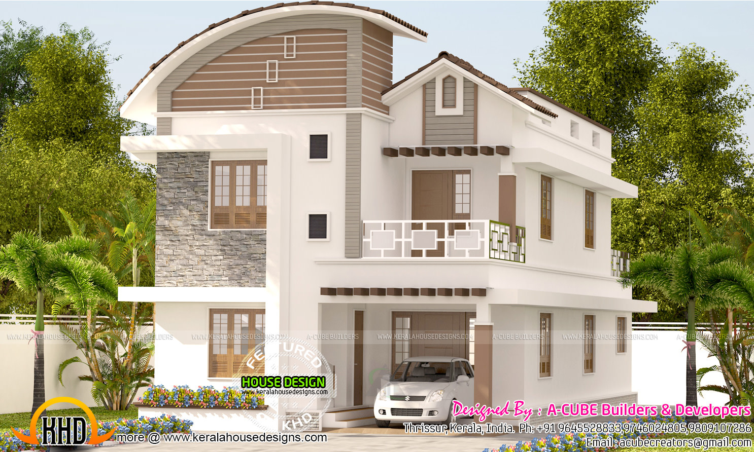 Curved roof mix 4 bedroom house kerala home design and for Curved roof house plans