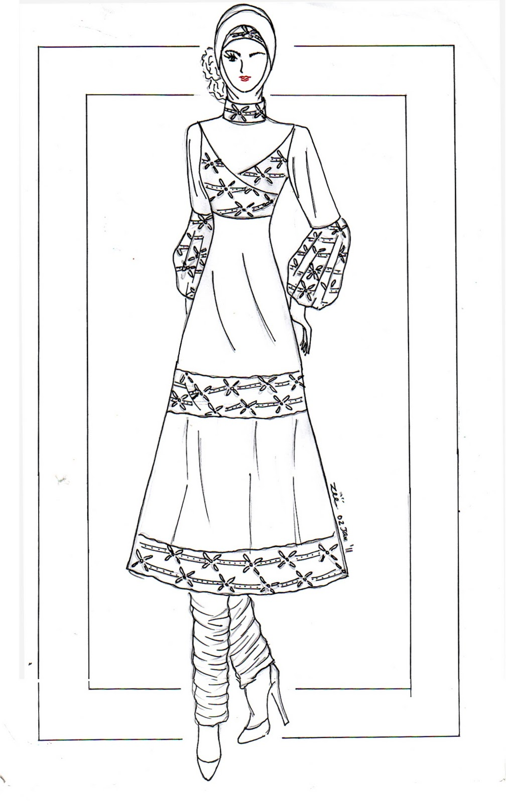 Koleksi Mewarnai Gambar Baju Muslim