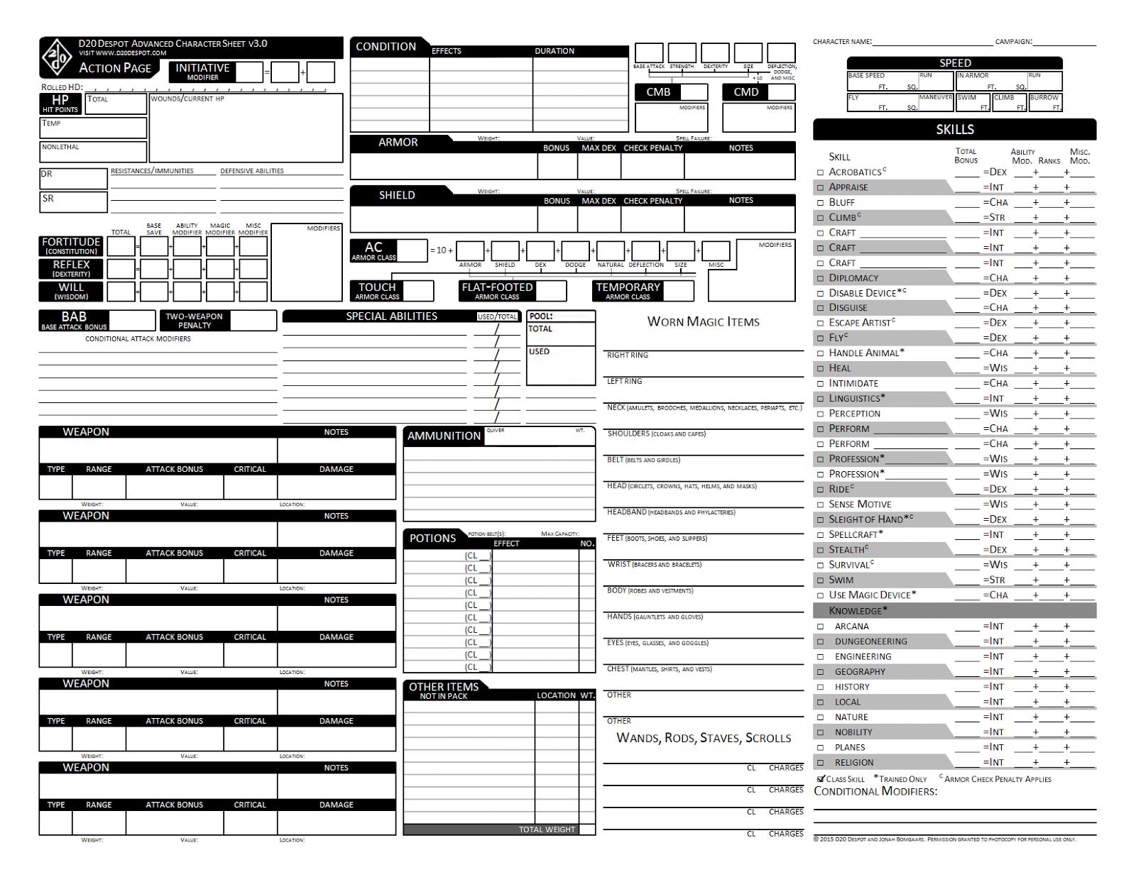 D20 Despot: Advanced Character Sheet 3.0 For Pathfinder