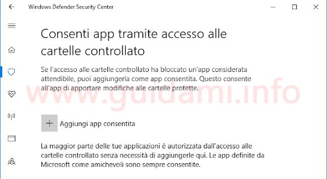 Windows Defender consentire programma a Accesso alle cartelle controllato