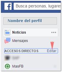Editar accesos directos en Facebook - MasFB