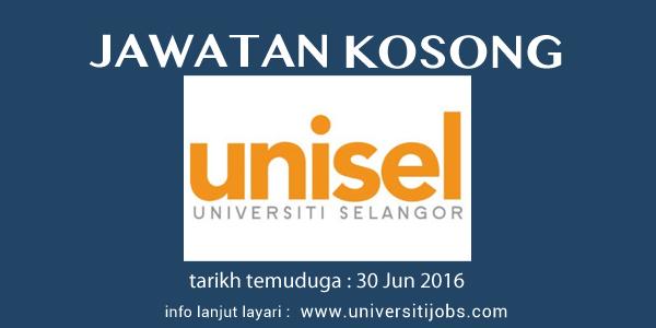 Jawatan Kosong Universiti Selangor UNISEL Terkini 30 Jun 2016