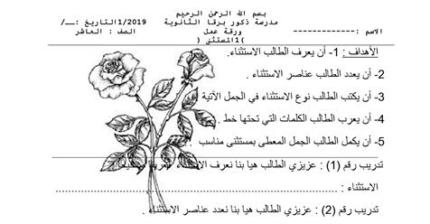 ورقة عمل الاستثناء (1) -الصف العاشر
