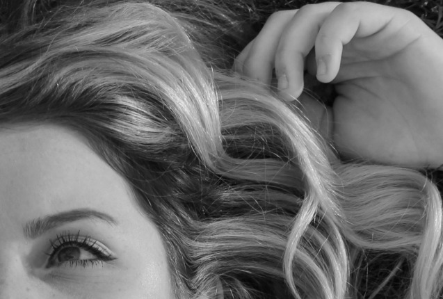 Gorgeous beachy waves on blonde in black and white by Hello Lovely Studio