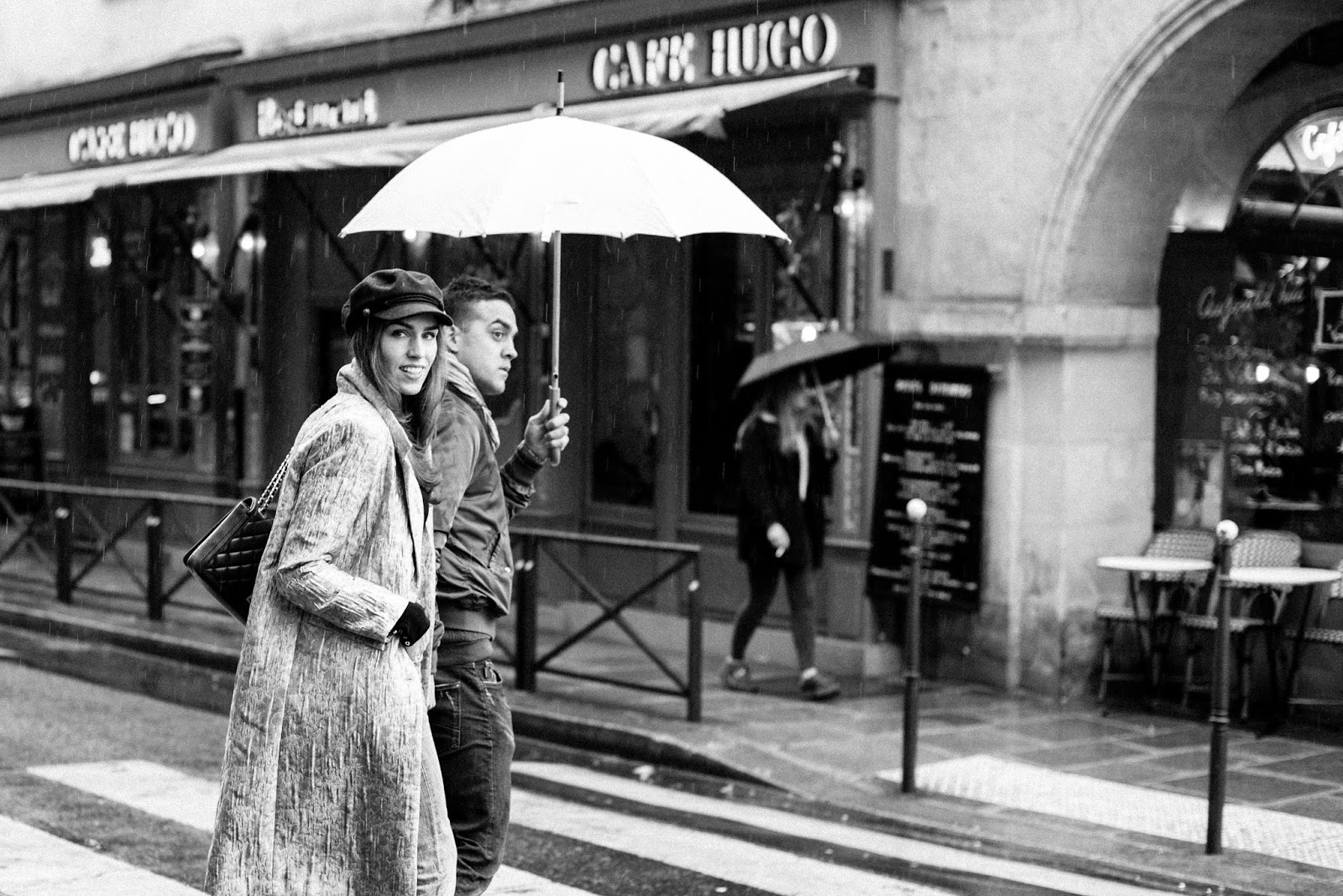 rainy paris black white photography