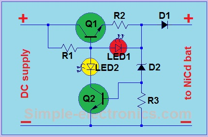 Dc Battery Charger Circuit Diagram | Simple Ni Cd Charger Automatic Simple Electronics