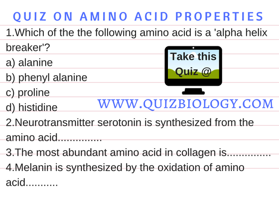 Quiz on Amino acid Properties
