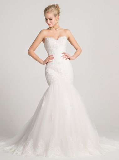 Mermaid Sweetheart Court Train Wedding Dress with Appliques