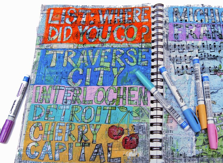 art journal pages on http://schulmanart.blogspot.com/2014/07/art-journal-prompt-where-did-you-go.html