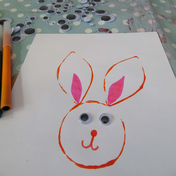 creating easter bunny prints to make bunting