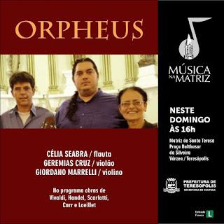 Projeto Orpheus domingo(10/04)  no Música na Matriz de Teresópolis
