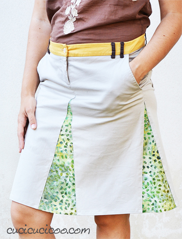 Learn how to refashion a pair of shorts into a skirt with godets. Tutorial by Cucicucicoo Ecological Living.