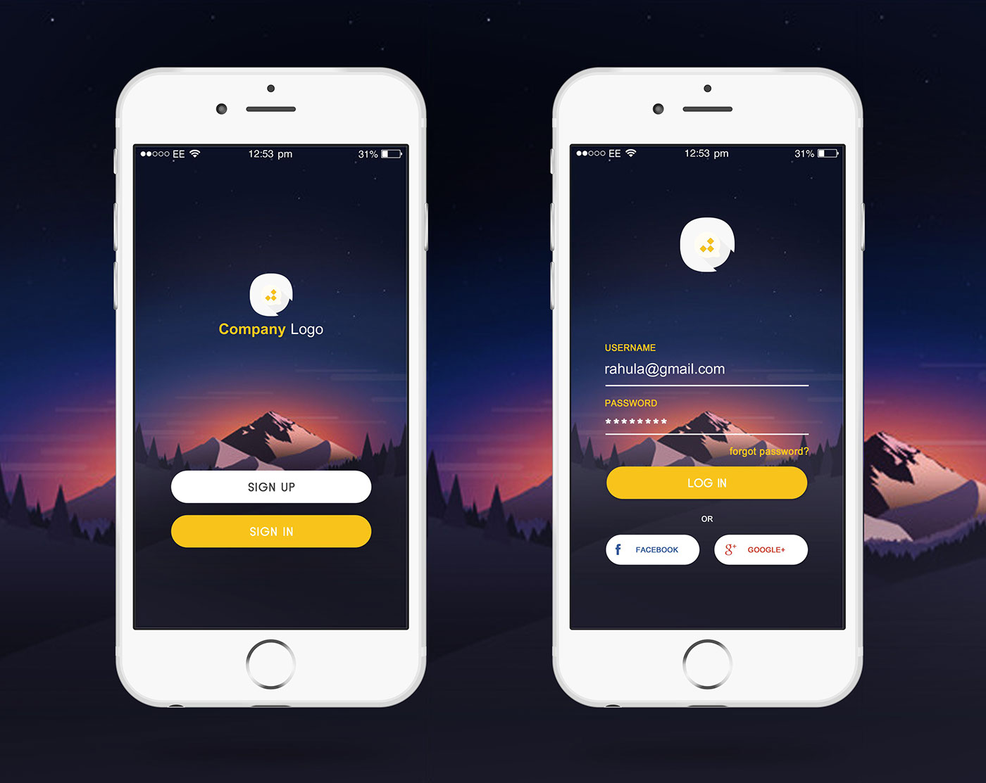 Login Page Design For iOS Application