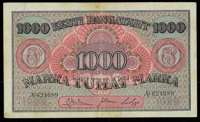 Estonian 1000 marka banknote currency images