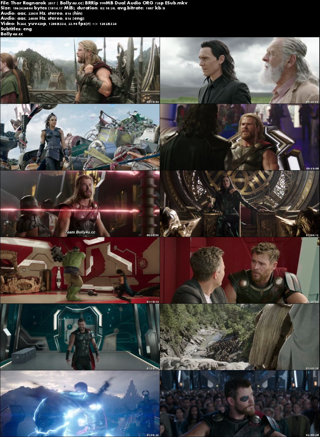 Thor Ragnarok 2017 BRRip 400MB Hindi Dual Audio ORG 480p ESub Download