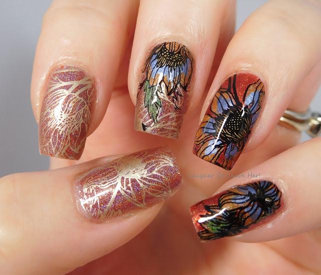 LynBDesigns Pliny The Elder + Zoya Channing + UberChic Beauty 13-03 + Messy Mansion stamping polishes