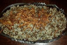 طريقة عمل اكله المجدرة الشامية بالعدس والبصل المقلى