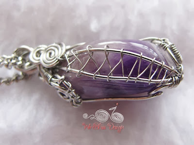 Wire Wrap Amethyst Pendant Right side View by WireBliss
