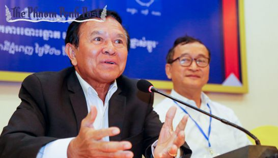 Kem Sokha speaks during a press conference in the capital earlier last year. Heng Chivoan