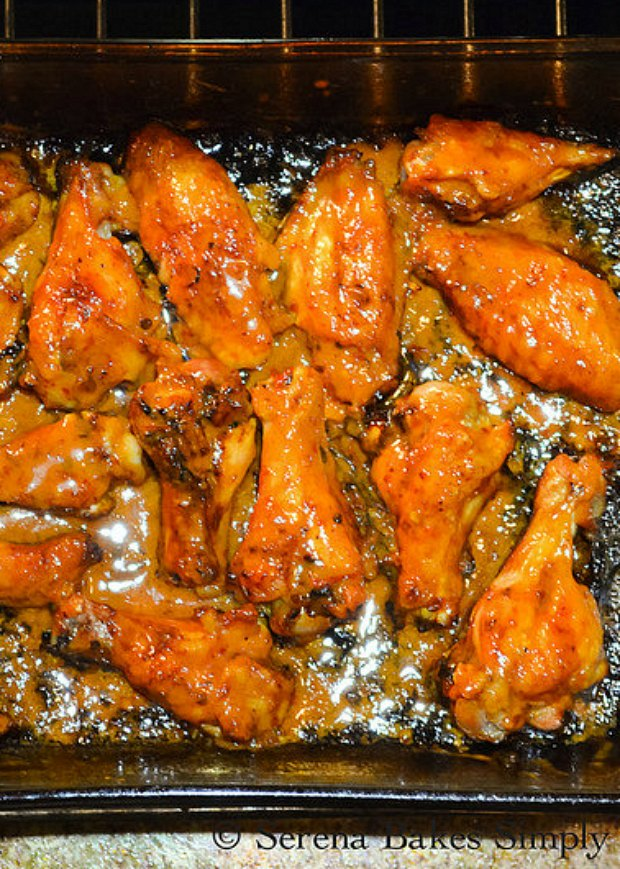 Baked Sticky Chipotle Honey Chicken Wings are so delicious! Bake until sauce starts to brown and becomes sticky from Serena Bakes Simply From Scratch.