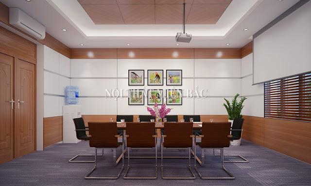 Thiết kế nội thất phòng họp này ưu tiên sử dụng những sản phẩm nội thất thiết kế đơn giản, thanh lịch