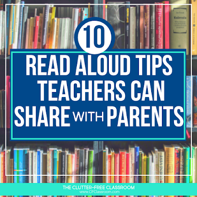 Share these 10 read aloud tips with your students' parents and guardians so they can make the most of their reading time at home with their students. It's so important that kids are read to every single day. While you are here, download the free reading book list resource to share with your students' families as well. #readingathome #raisingreaders #reading