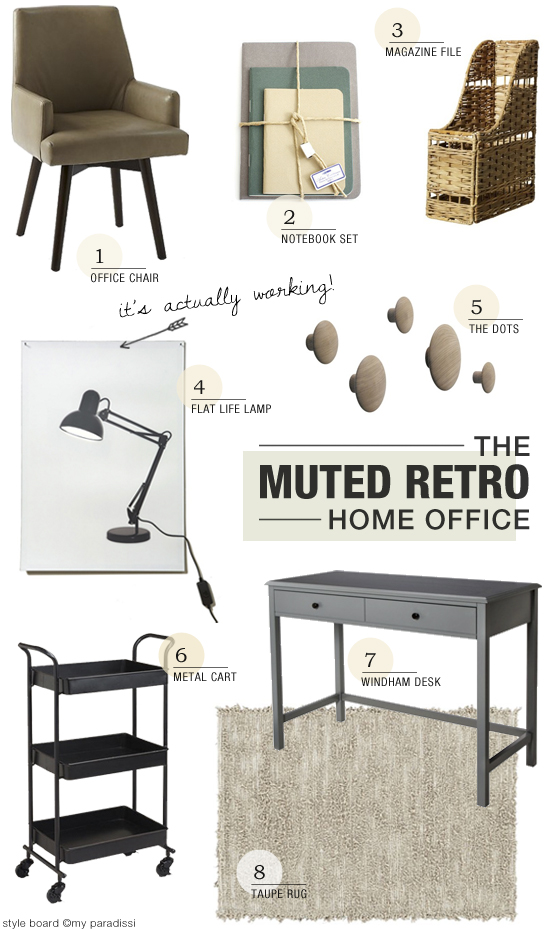 Muted retro home office decor inspiration #homeoffice #decor