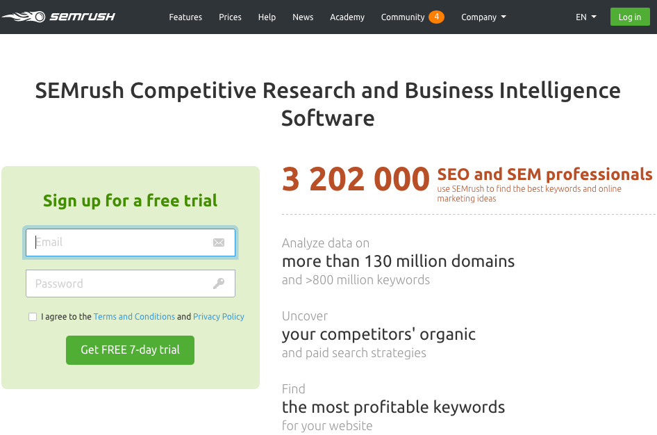 semrush,free account