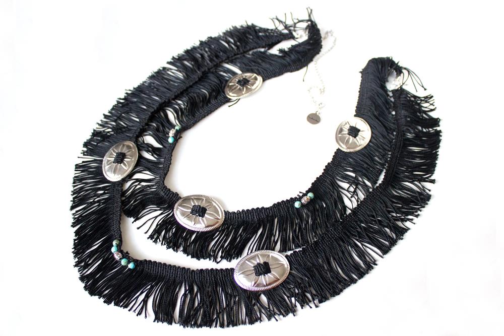 Floral Oval Concho Fringe Belt