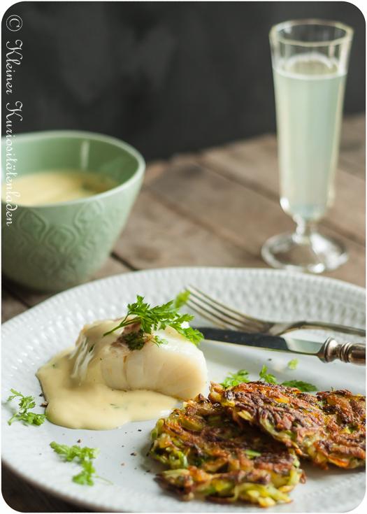 Confierter Kabeljau mit Spargelrösti und Sauce Mousseline