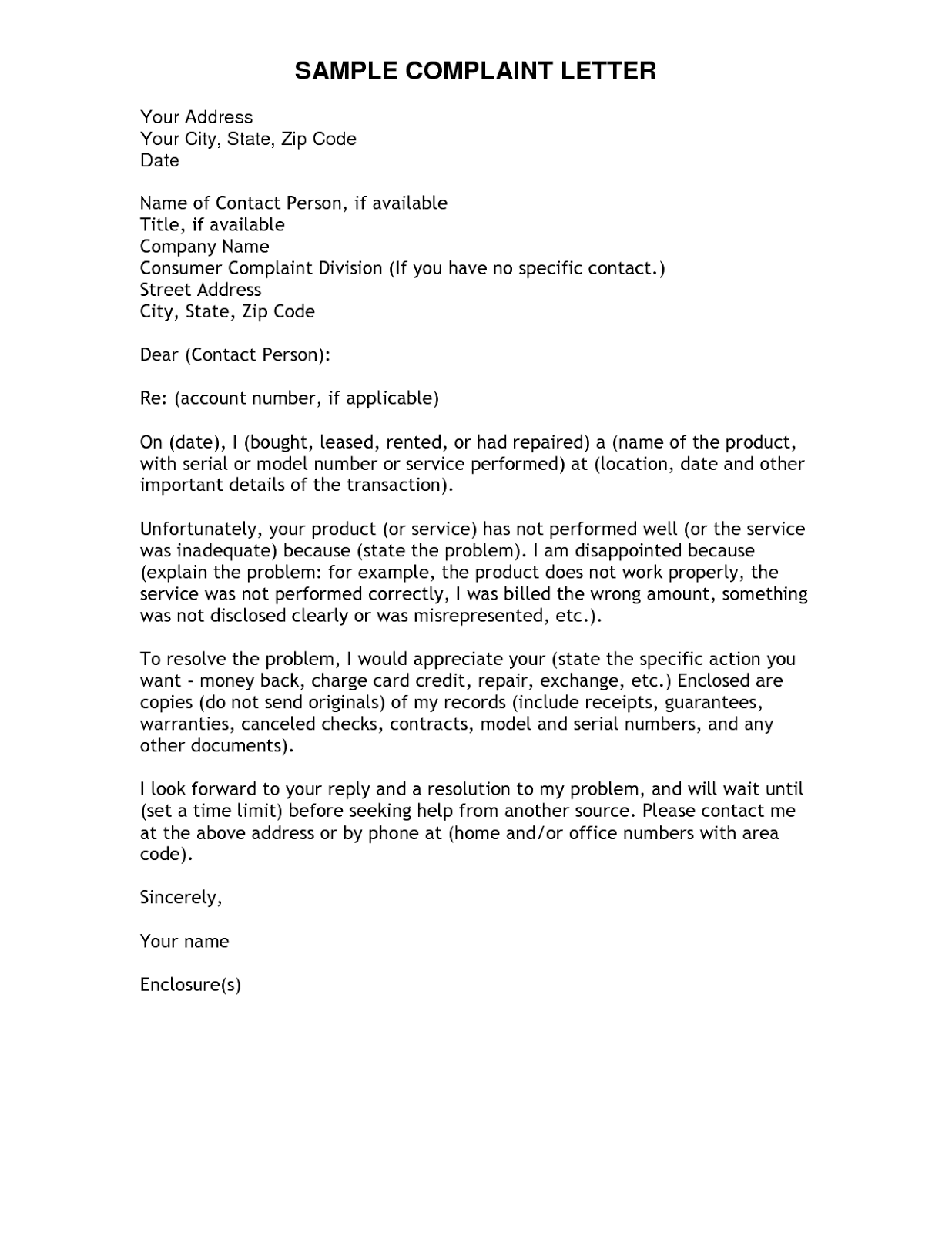Complaint Response Letter – Smart Letters