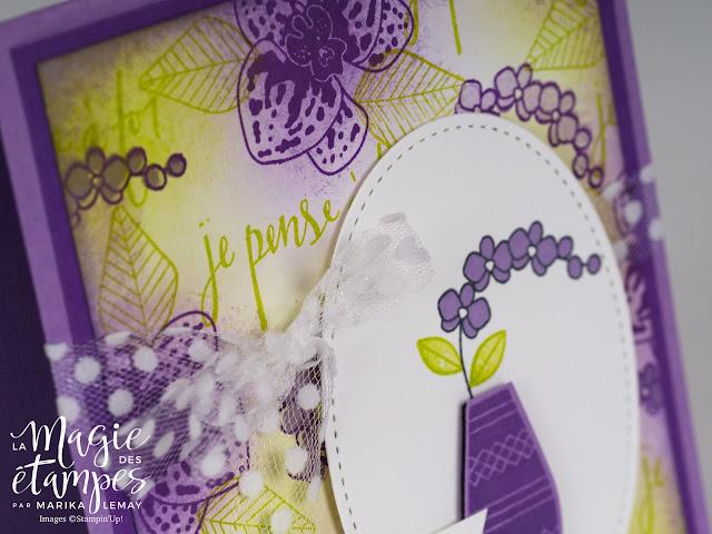 Carte Stampin' Up! créée avec les jeux d'étampes Vases divers et Orchidée grimpante