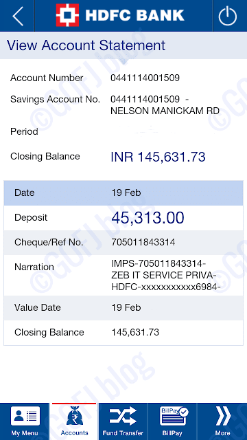 Zebpay deposit bank account statement