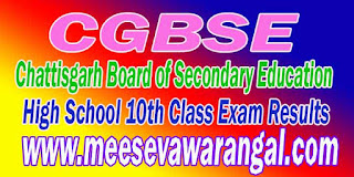 CGBSE High School 10th Class 2016 Exam Results Chattisgarh Board of Secondary Education