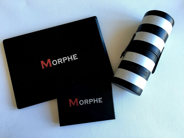 Morphe eyeshadow palettes and Morphe travel brush set on white background