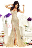 Rochie aurie sirena din material paietat • Atmosphere