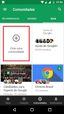 Menu de comunidades do Google+