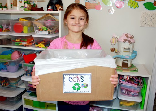 To help reduce trash, Tessa created an aluminum can recycling box. (We live in a small, rural town where there aren't a lot of recycling options.)