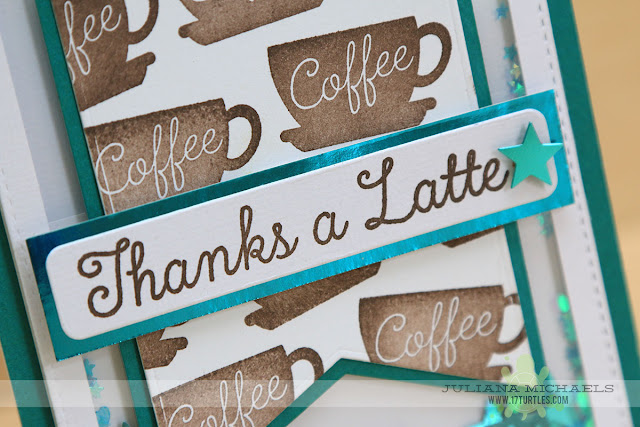 Thanks A Latte Card by Juliana Michaels featuring a shaker box and stamps and dies from MFT Stamps
