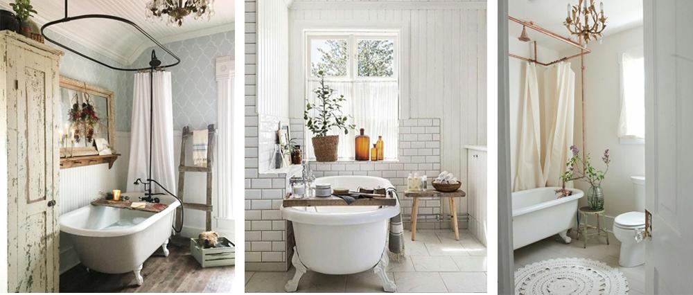 como decorar baño de estilo vintage con bañera de patas y accesorios