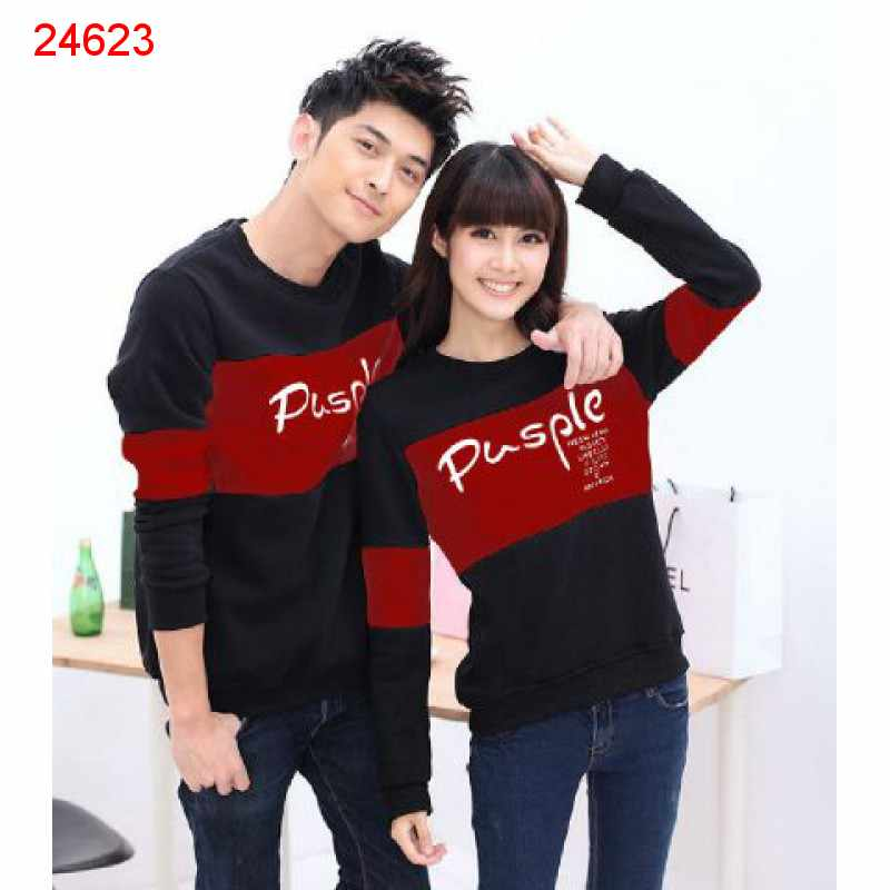 Jual Sweater Couple Sweater Pusple Blink Hitam Merah - 24623