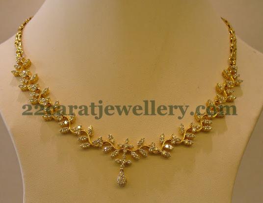 Radiant Simple Diamond Necklace Jewellery Designs