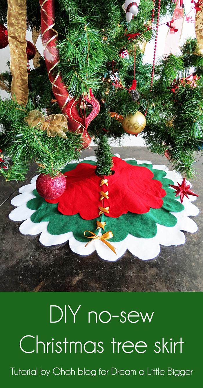 Christmas Tree Skirt Patterns To Sew.No Sew Christmas Tree Skirt Ohoh Deco