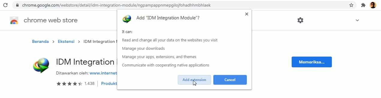 Memasang Ekstensi IDM di Browser Chrome