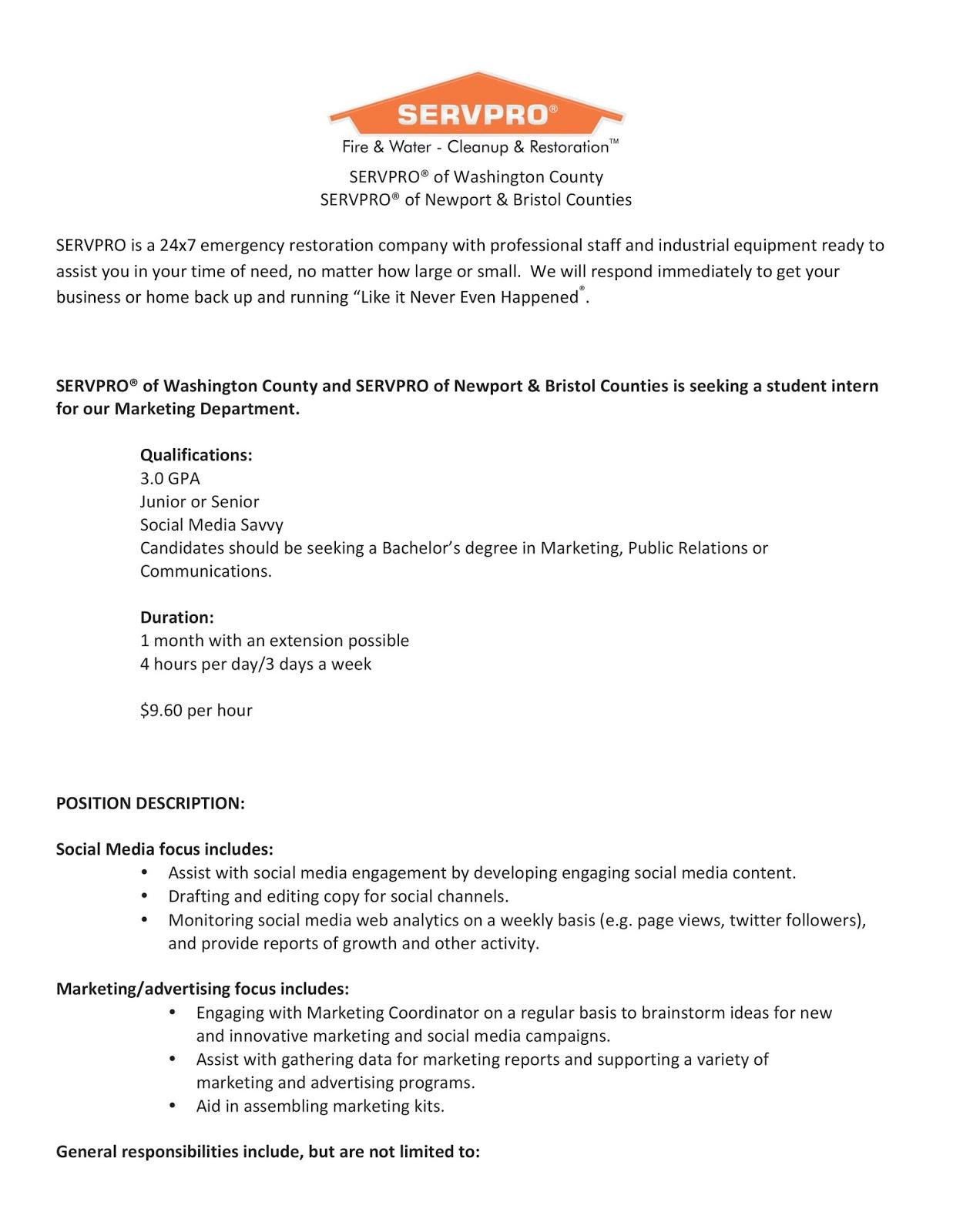 uri cba internship  job information  servpro