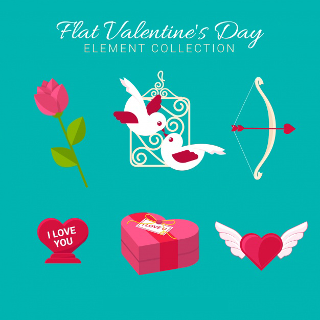 Flat valentine elements collection Free Vector