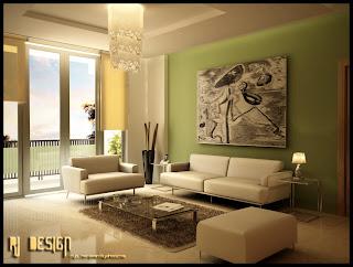 hiasan+ruang+tamu+hijau Ciptakan Kesan Alami Bersama Ruang Tamu Hijau