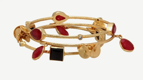 red, black jewelry, stacking bangles
